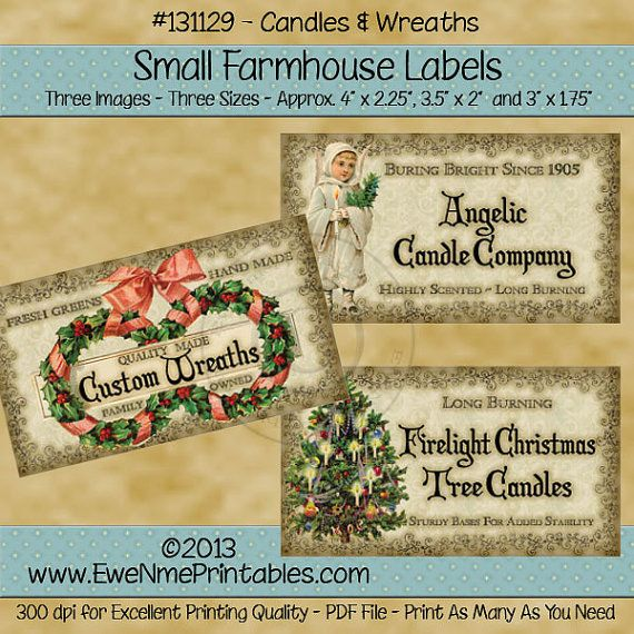 Christmas Wreath Rustic Farmhouse Label Printables - Angelic Candle Co. - Christmas Tree Candle Label - Primitive  - Digital PDF or JPG File