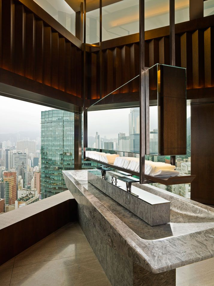 Bathroom with a view! / http://www.yatzer.com/the-upper-house-hong-kong / Café Gray Deluxe, The Upper House, Hong Kong.