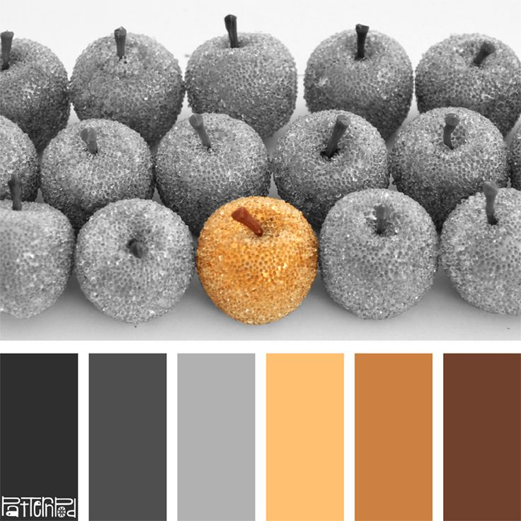 Color Palettes: Gray and Gold Apples. If you like our color inspiration sign up for our monthly trend letter - click the image for the link.
