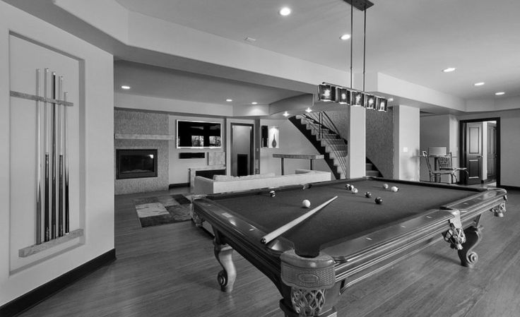 Architecture:Awesome Black And White Basement Finishing Ideas With Billiards And Pendant Lighting And Ceiling Lights Also Laminate Wooden Floor Then Living Room Area With Flat Screen Tv Plus Sofas Feat Fur Rugs The Coolest Basement Finishing Ideas for Your On – going Remodeling Basement