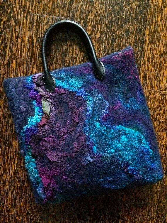 Nuno Felted Bag Hand Dyed Women Textile Tote Bag от FeltedPleasure