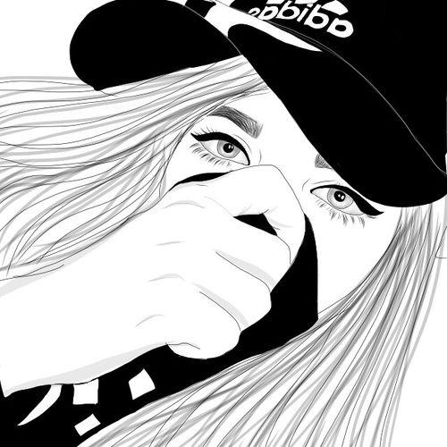 Dessin Noir et Blanc | Outlines, Fille qui se cache avec son sweat et sa main, Casquette adiddas