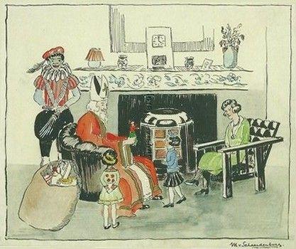 Sinterklaaskaart : bezoek van Sint en Piet, 1940
