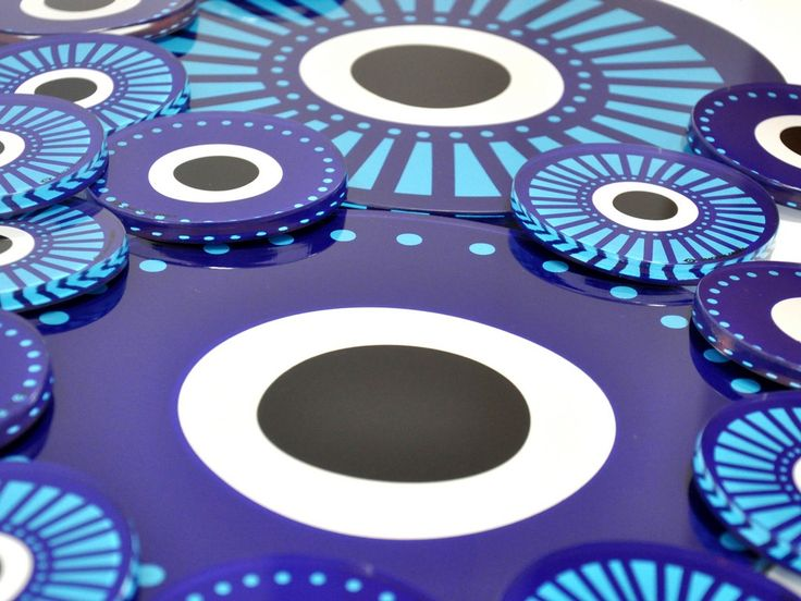 Evil eye | Plexiglass coasters and placemats | screenprinted & lazer cutted