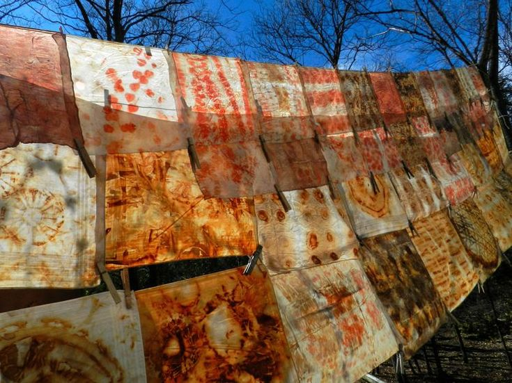 elizabeth bunsen . rust and eucalyptus dyed silk and cotton