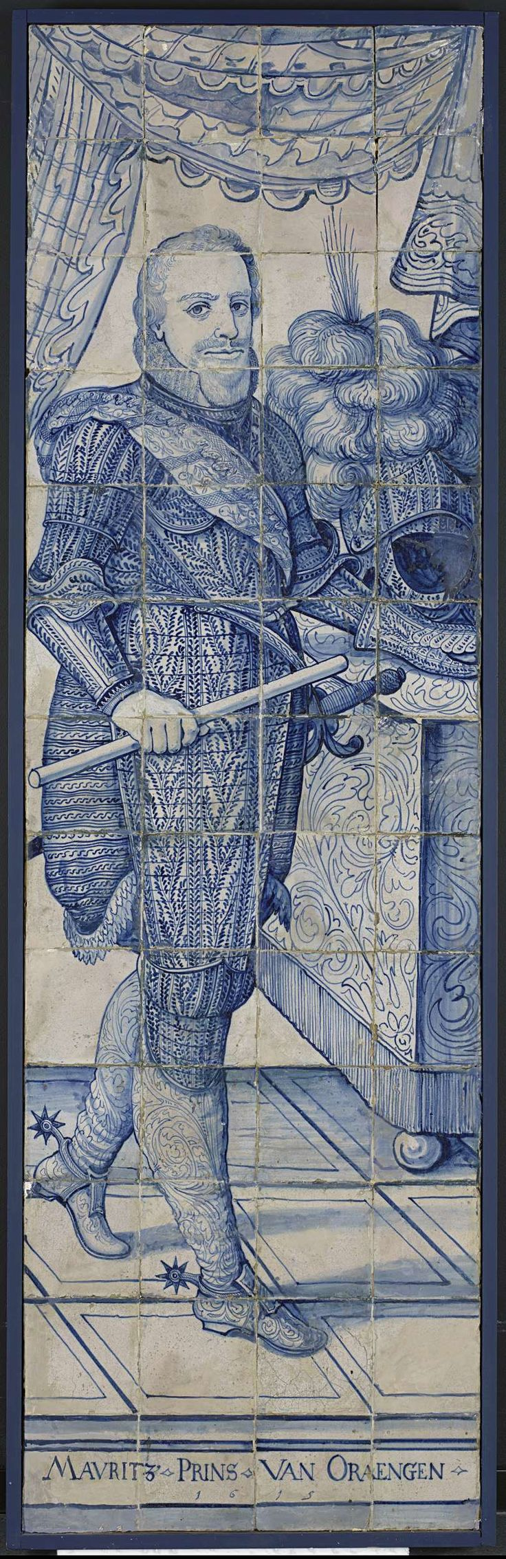 Tegeltableau met portret van Prins Maurits, anoniem, 1615