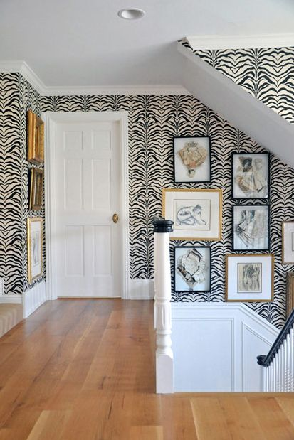 all you need for a hallway is zebra wallpaper - Decorista Daydreams