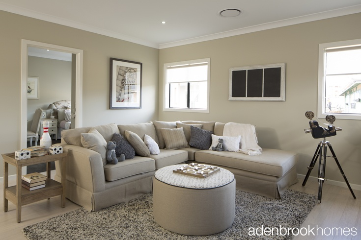 The warm and inviting lounge room space by Windemere Interiors.