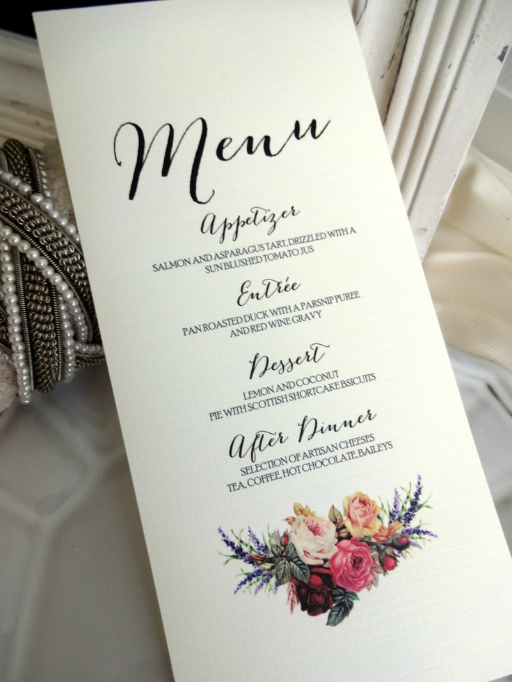"""MENU CARD - Ideal for Weddings, Rehersal Dinners, Christenings & More. 3.5x7"""" Vintage, Shabby Chic, Rustic Inspiration. Fully Customed Menu"""