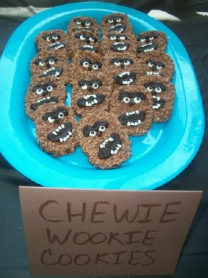 Chewie Cookies made with Star Crunches! How fun for a Star Wars themed birthday party!