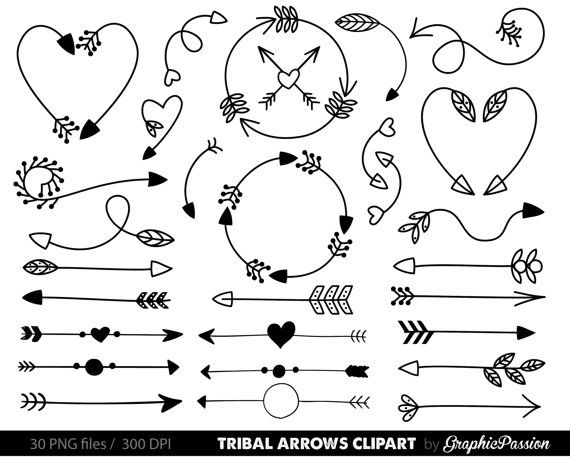 Arrows clip art, tribal arrow clip art, archery hand drawn arrows, doodle drawing tribal digital, Handdrawn arrows, Arrows digital