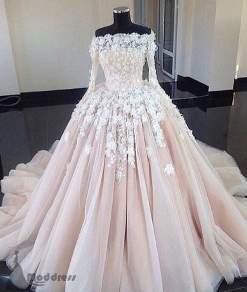 Awesome unique lace applique wedding dress long sleeve a-line bridal gowns,HS336