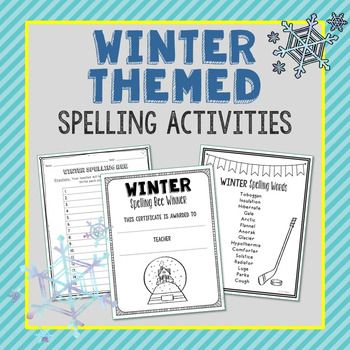 Make spelling fun with this Winter themed spelling list, vocabulary activities, class spelling bee class game, and winner(s) certificate. Spelling words: toboggan, insulation, hibernate, gale, arctic, flannel, anorak, glacier, hypothermia, comforter, solstice, radiator, luge, parka, cough
