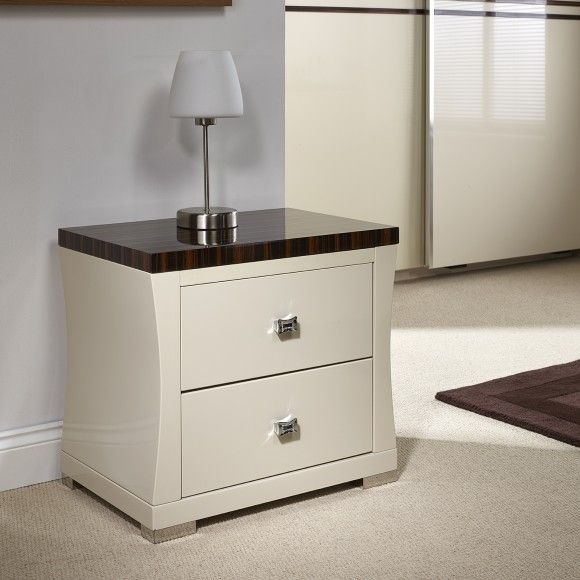 Fabulous Lorenza Bedside Table A wonderful ivory colour high gloss bedside table with walnut grain top