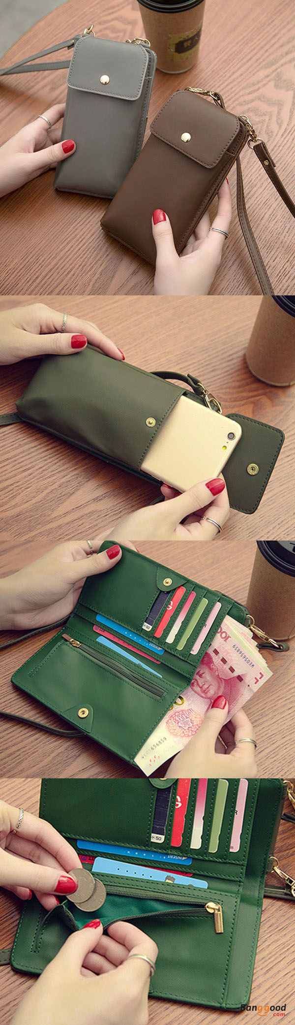 US$18.99+Free shipping. Women Purse, Phone Bag, Wallet, Crossbody Bag Purse, Pure Color, PU Leather, 5.5inch. Color: Black, Gray, Brown, Green. Shop now~