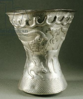 Embossed silver botton of vase,from Agighiol treasure,-Romania Dacian civilization 4thc BC