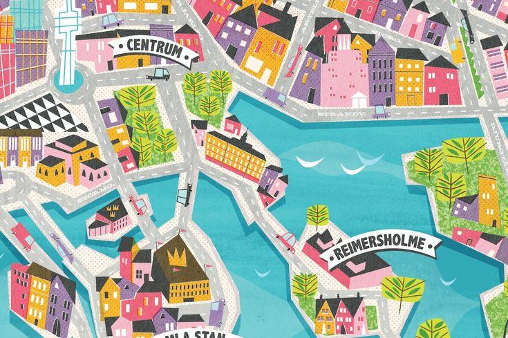 Die schönsten Metropolen auf illustrierten Stadtplänen  . Stockholm_stadtplan_victionary