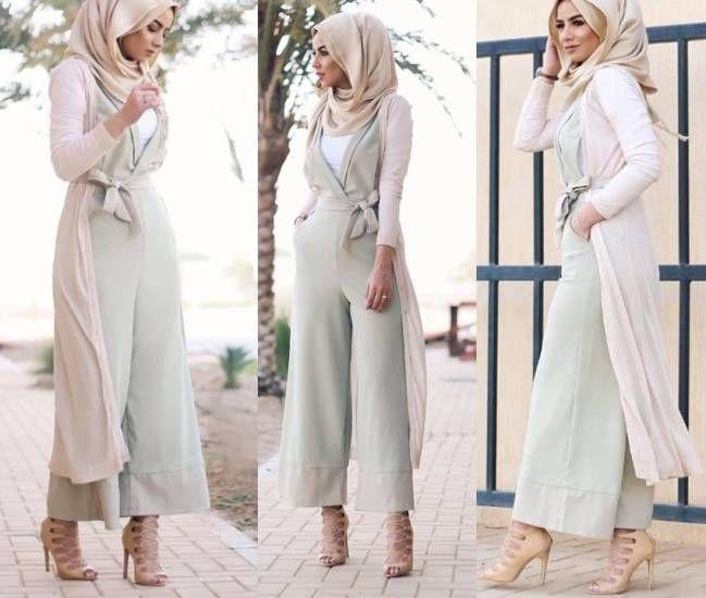 pastel green jumpsuit hijab style