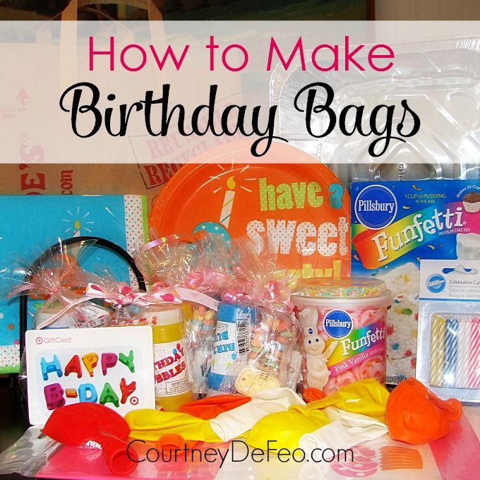 Bless someone less fortunate with a birthday bag! All the supplies you need to have a birthday party. www.courtneydefeo.com