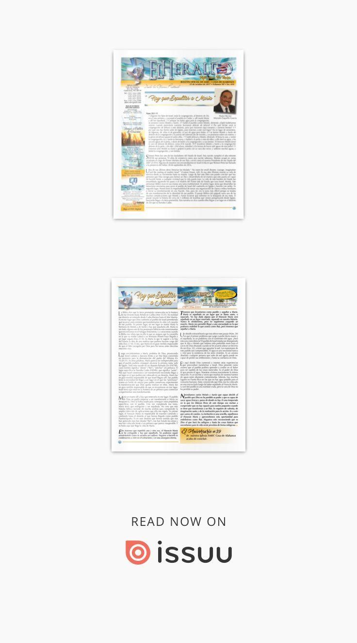El Heraldo del 22 de octubre de 2017. Boletín oficial AMEC  Reflexión Pos María: Boletín oficial de la Iglesia AMEC Casa de Alabanza desde Canóvanas Puerto Rico. Con fecha del 22 de octubre de 2017 • Volumen XII • No. 610. Reflexión escrita por el Pastor/Rector Mizraim Esquilín García.
