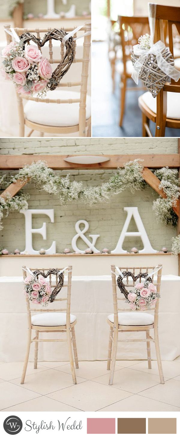 wedding chair decors with heart-shaped wreaths