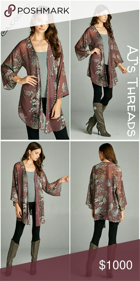 ✨Coming Soon✨ Floral Kimono Cardigan Long Three Quarter Sleeve Fall Floral Hi-Multi Chiffon Kimono Cardigan - 100% Polyester Color: Mauve Made in USA ✨Like to be notified when this comes in. 🛍Bundle and save 10% 🎁Free gift with purchase over $20 Sweaters Cardigans