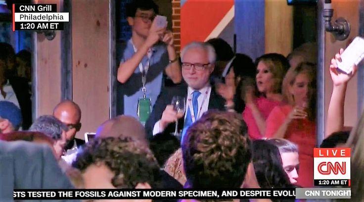 video wolf blitzer drinks wine dances celebrate hillarys nomination