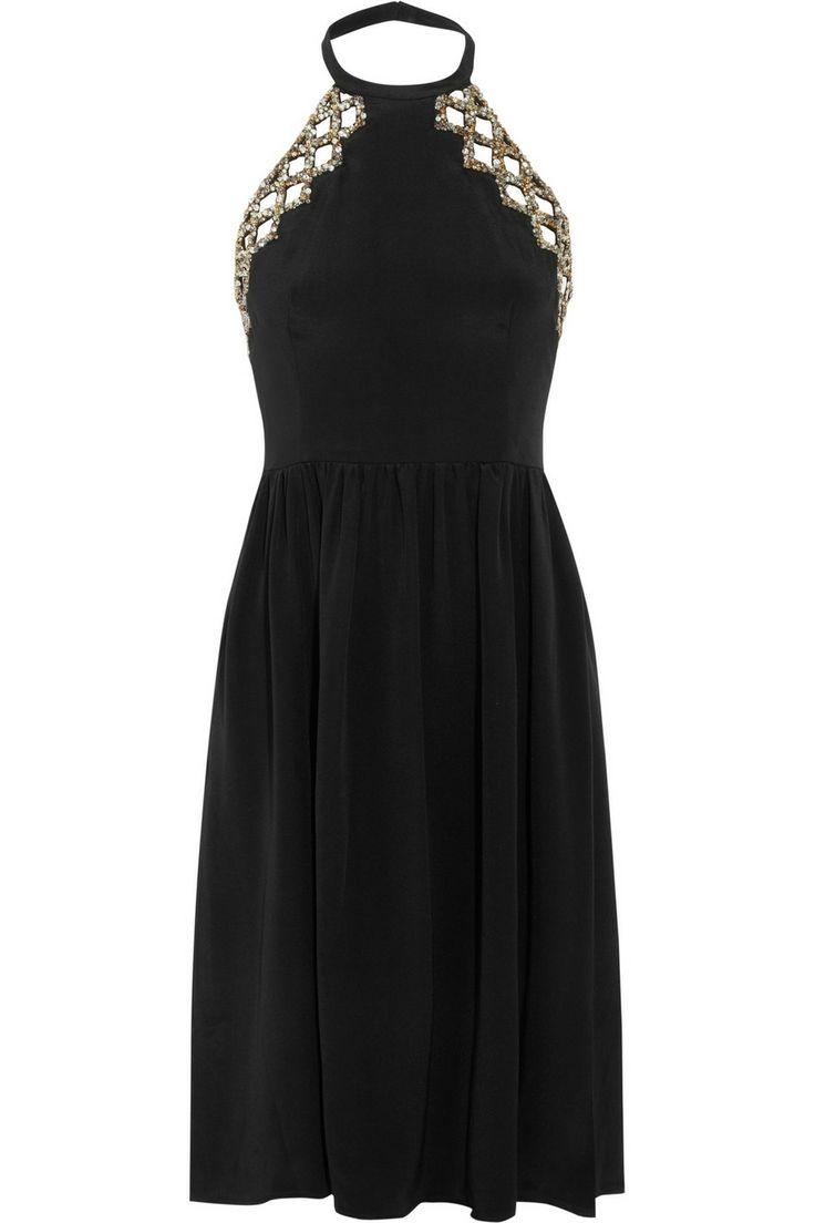 IssaEmbellished cutout silk dress
