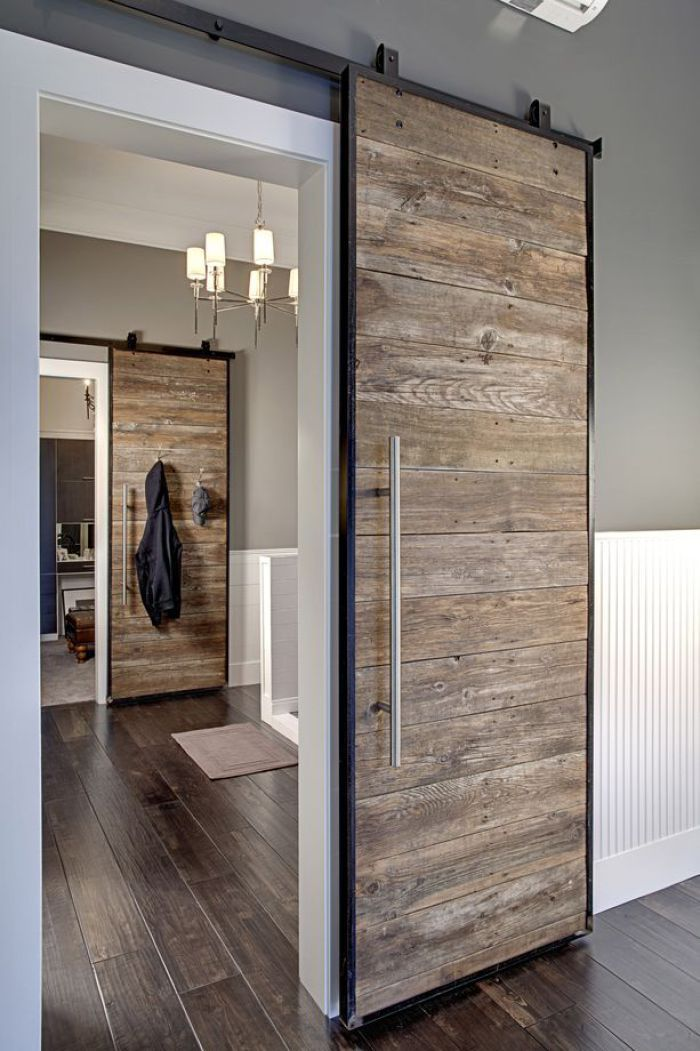 Sleek and modern reclaimed wood sliding barn door | Modern Rustic Style | Interior Design | Home Decor Inspiration