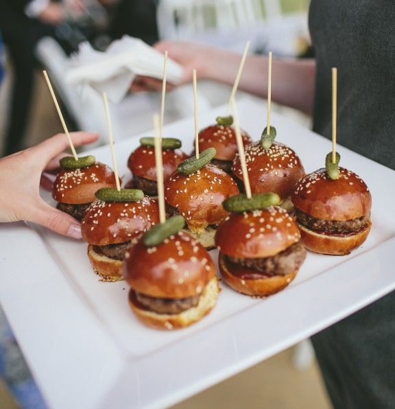 Don't these mini-sliders look incredible? Your guests will think so too! Treat your drunken friends to burgers at the end of the night and they'll love you even more!  Toronto wedding planner inquiries@eventsbywhim.ca Whim Event Coordination and Design