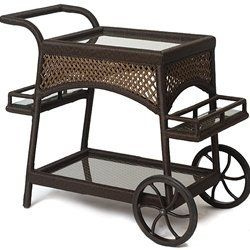 "Latitudes Serving Cart - Wicker Patio Furniture by Lloyd Flanders. $789.00. Visit our site for Wicker Color options. Wicker Patio Serving Cart. W40.5""xD18""xH36.5"". The embodiment of traditional styling, the Latitudes Collection is reminiscent of old wicker, yet is produced in today's technology with an exclusive custom vinyl woven strand. Featuring a hand-woven open lattice, Latitudes is presented in stunning caramel or bisque. Perfectly suited to the lanai, sunroom or lawn,..."