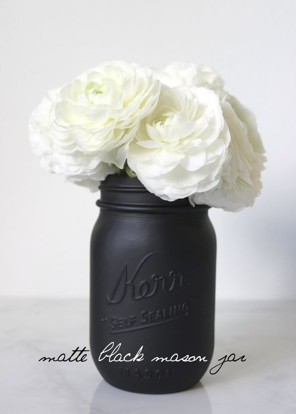 miss kris painted matte black mason jar diy put any color flower to match decor of room