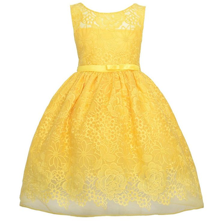 Sweet Kids Girls Bright Floral Garden Embroidered Lace Flower Girl Party Dress