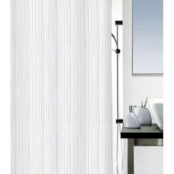 Duschvorhang in weiß und grau mit feinem Muster //  Shower curtain for white and grey bathrooms