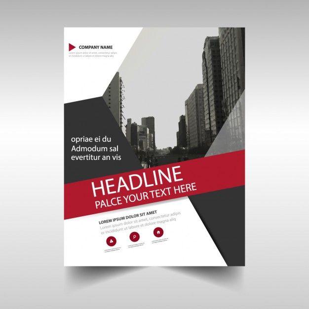 企業の黒と赤の幾何学的なパンフレット 無料ベクター