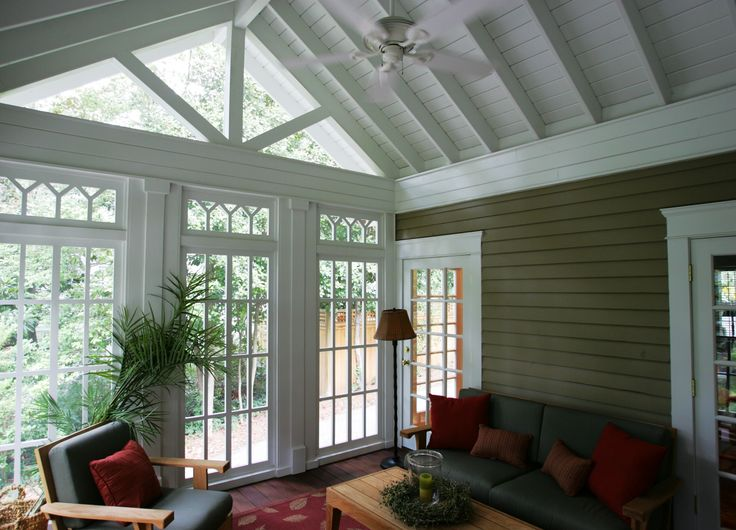 """Sunroom Addition - Love the """"cottage"""" feeling of this ceiling."""