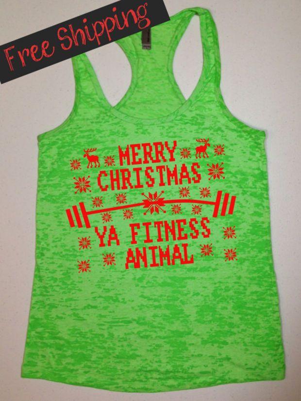 cd361a948 MeRRy CHRiSTMaS FiTNeSS ANiMaL. Ugly Christmas. Workout Tank Top. Running  Tank. Crossfit Tank. Fitness Tank. Gym Shirt. Free Shipping USA