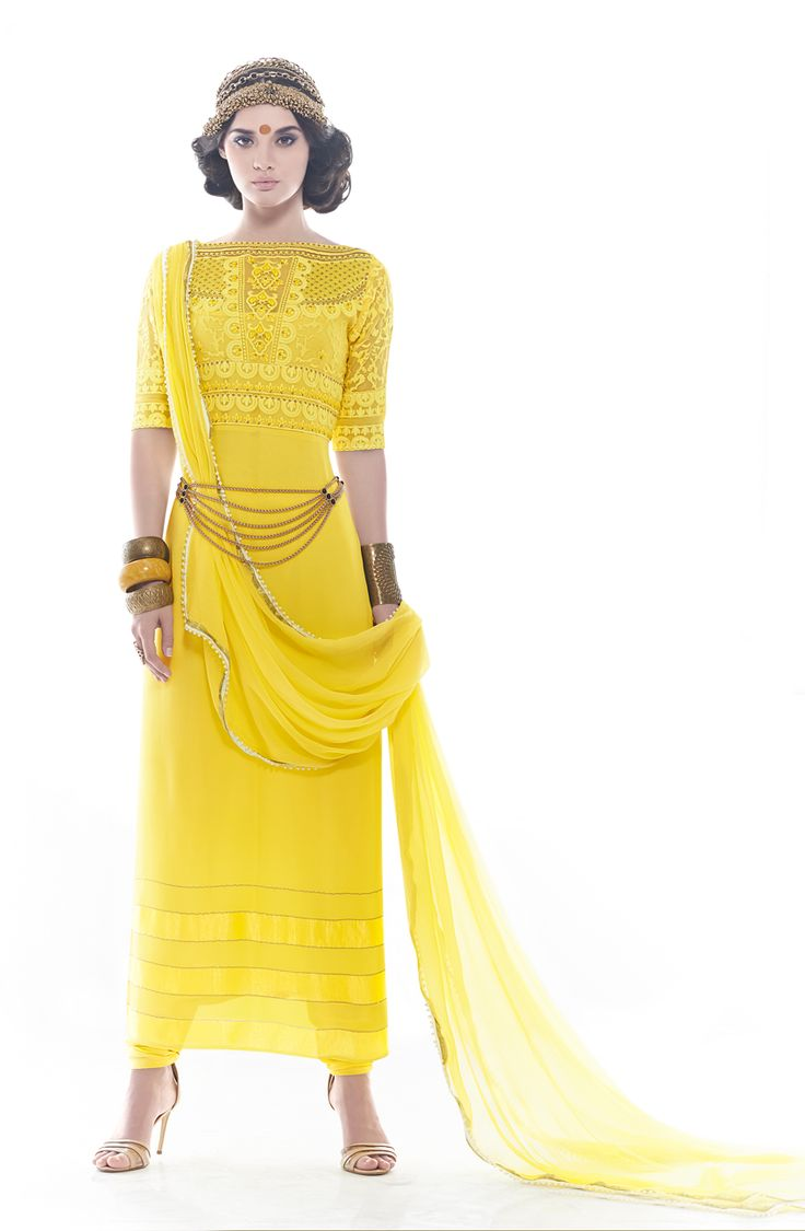 Designer Exclusive Yellow Unstitched Georgette Embroidered Salwar Suit - SHA1106 To shop here; http://goo.gl/NBVcXy