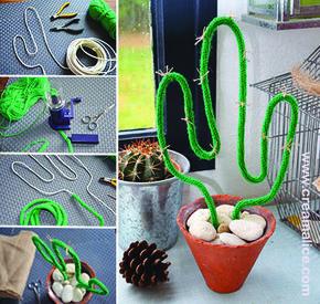 Pour une déco naturelle et sauvage tendance Boho, voilà un {DIY} qui tombe à pic!! un joli petit cactus en tricotin très facile à réaliser...