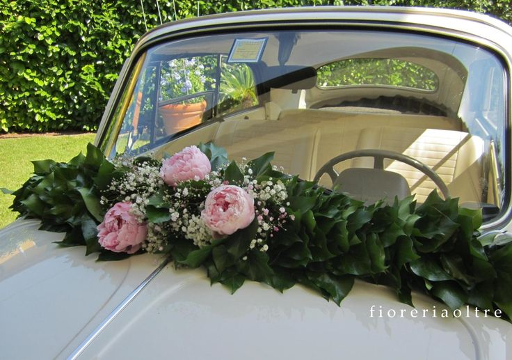 Fioreria Oltre/ Pink peonies wedding car decoration