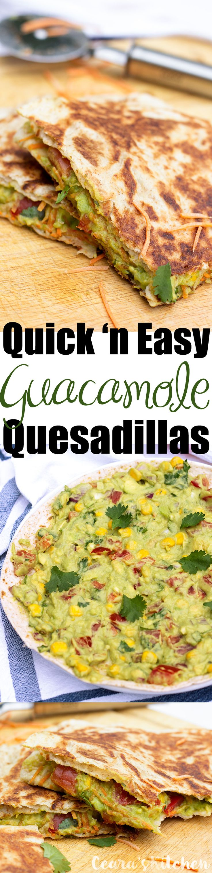 Easy Guacamole Quesadillas - the perfect #appetizer or #side ! Serve warm, straight from the pan, oozing with warm avocado-packed guacamole! #GlutenFree #Healthy #Avocado #Guacamole #Mexican #Vegan
