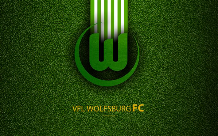 Download wallpapers VfL Wolfsburg FC, 4k, German football club, Bundesliga, leather texture, emblem, logo, Wolfsburg, Germany, German Football Championships