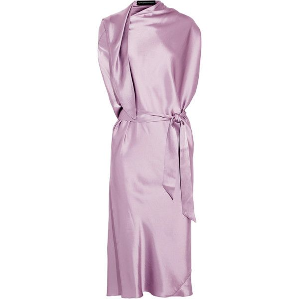 Maria Grachvogel Kosuke belted silk-satin dress ($605) ❤ liked on Polyvore featuring dresses, lilac, silk satin dress, wrap tie dress, tie belt, drape wrap dress and wrap around dress