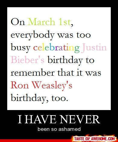 HOW COULD THOSE STUPID JB FANS FORGET THE BIRTHDAY OF ONE OF THE MAIN CHARACTERS IN HARRY POTTER THAT IS TOTALLY AWESOME?? FYI!!!!