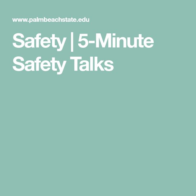 Safety | 5-Minute Safety Talks