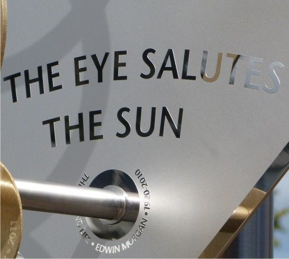 A contemporary sundial quotation from one of our finest modern poets. The late Edwin Morgan was Scots Makar (laureate).