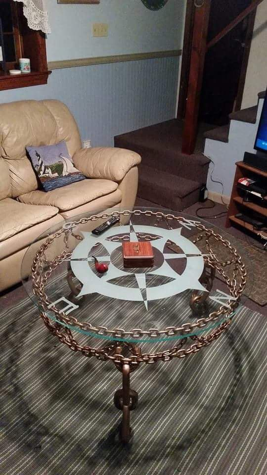 Ship Chain Table with Compass Rose Glass Top - custom welded chain base, hand frosted compass tose table top by WhiteWhaleBlackPearl on Etsy https://www.etsy.com/listing/262828025/ship-chain-table-with-compass-rose-glass