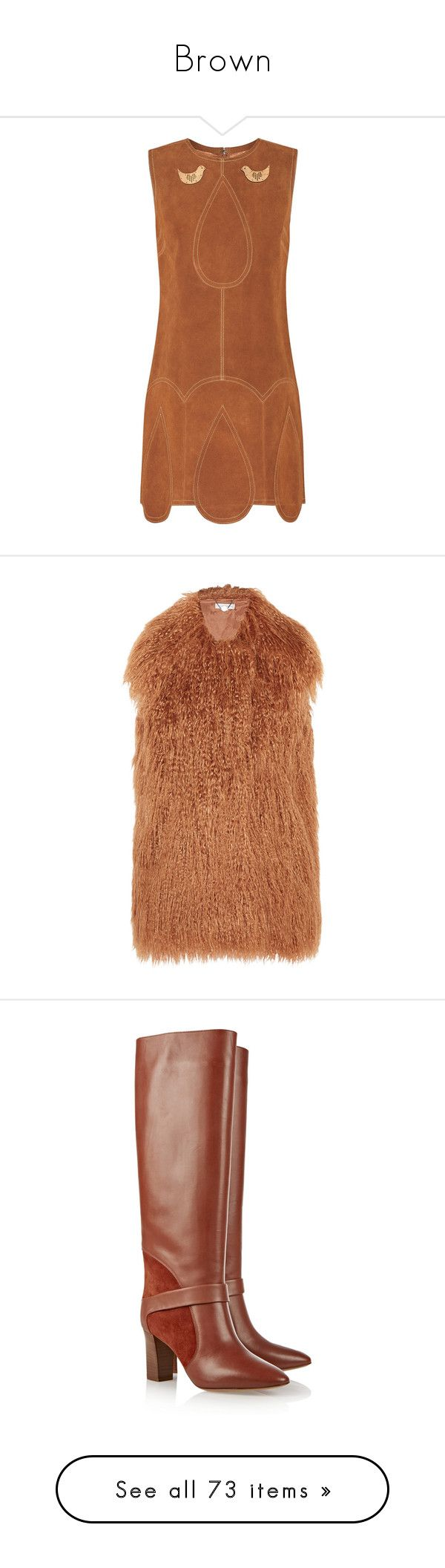 """""""Brown"""" by alyssa23 ❤ liked on Polyvore featuring dresses, anna sui, vestidos, brown, short dresses, anna sui dress, brown dress, brown suede dress, outerwear and vests"""