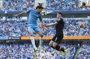Jesus Navas beats Hull's Andrew Robertson to the ball during #ManchesterCity's 3-1 home win at the Etihad. No Premier League side has scored more goals in all competitions than Manchester City this season (101, level with Arsenal)