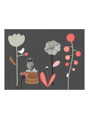Poster uil en bloemen